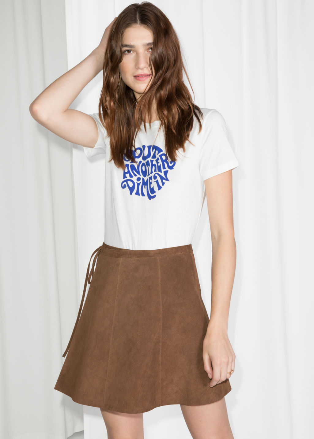 Model front image of Stories wrap suede mini skirt in beige