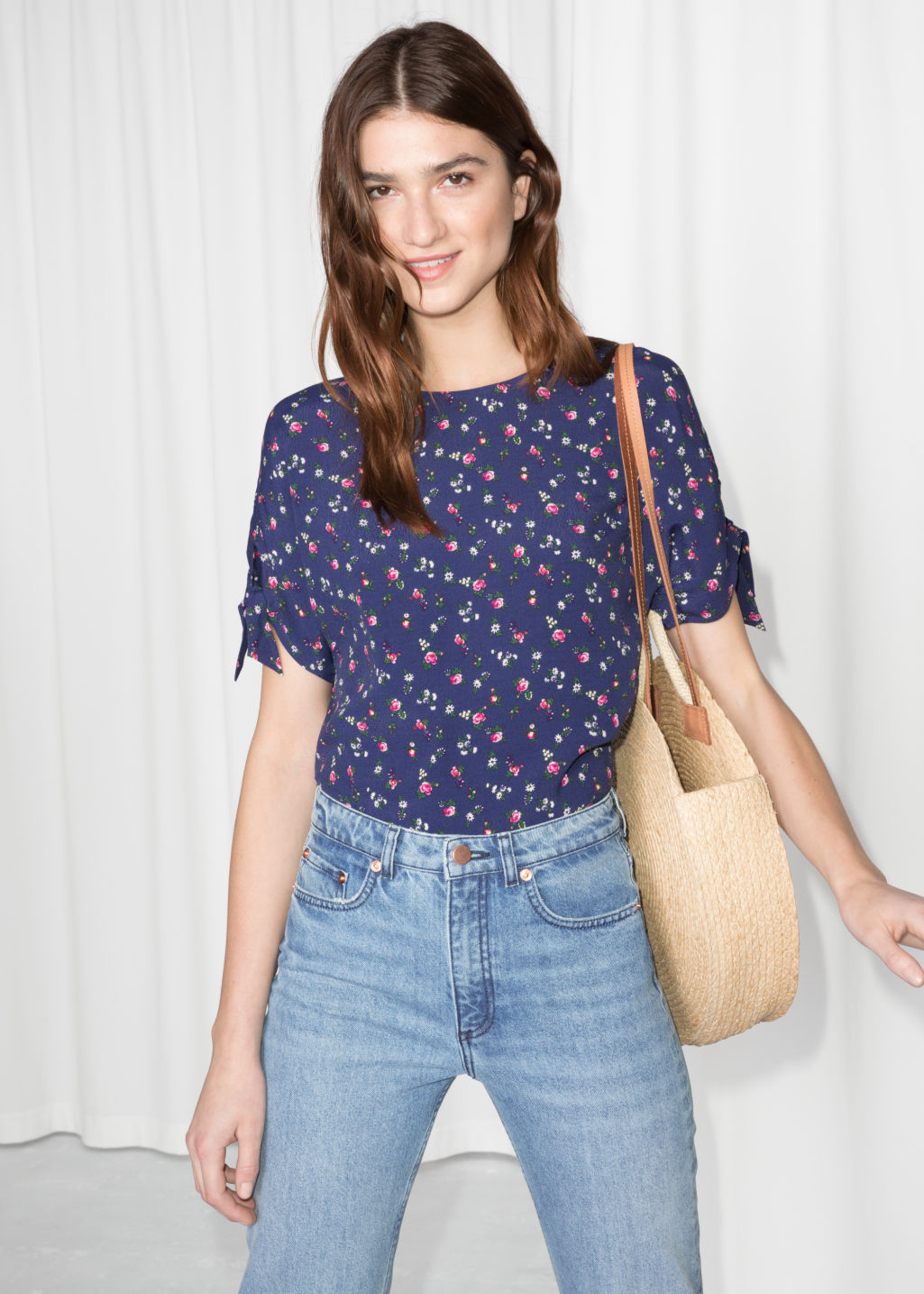 Model front image of Stories tie sleeve blouse  in blue
