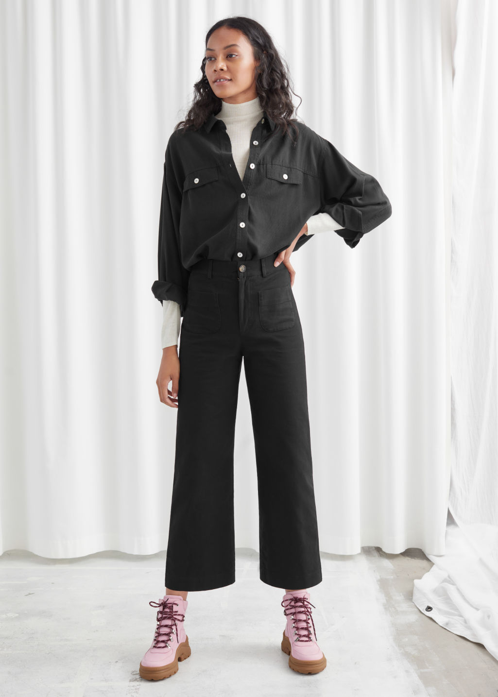 Model front image of Stories high waisted twill trousers in black