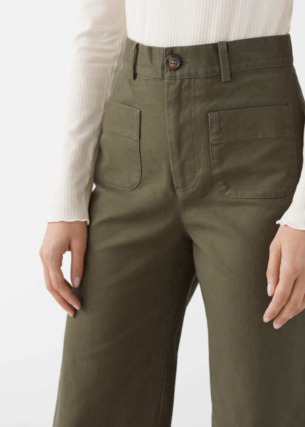 Model front image of Stories high waisted twill trousers in green