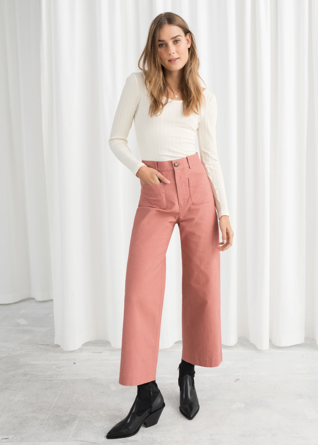 Model front image of Stories high waisted twill trousers in orange