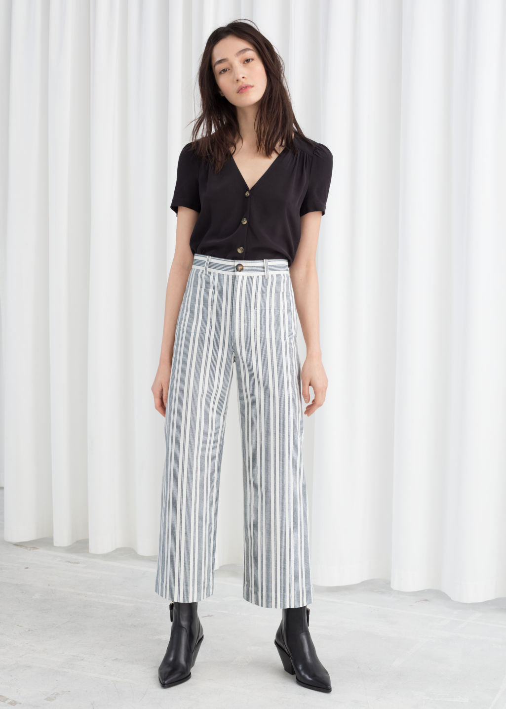 Model front image of Stories high waisted twill trousers in blue