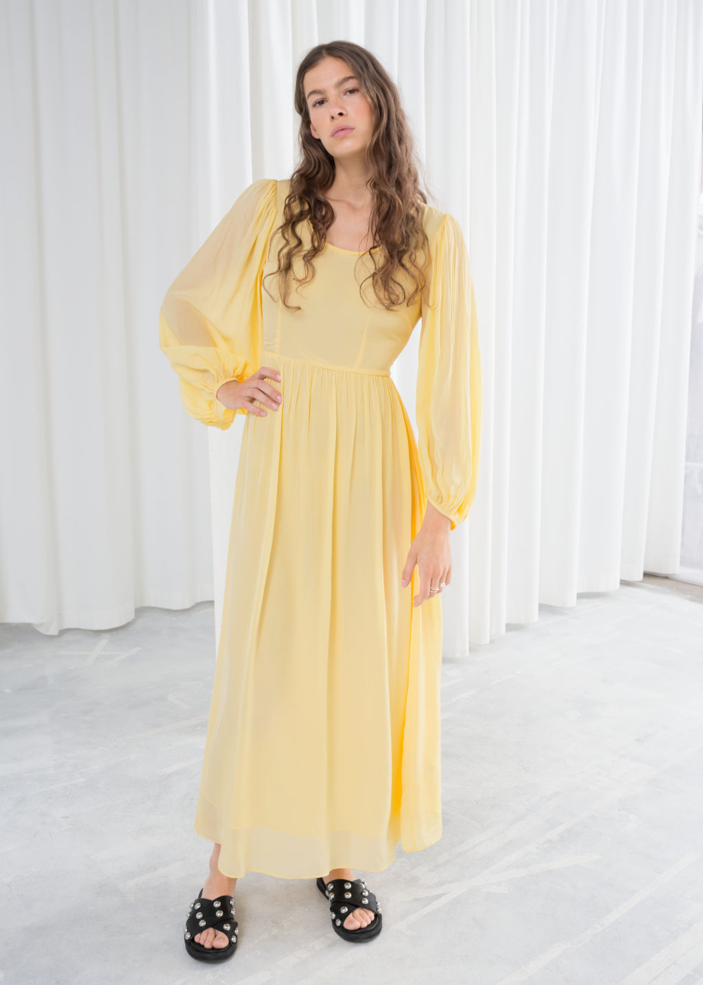 Model front image of Stories billowy prarie maxi dress in yellow