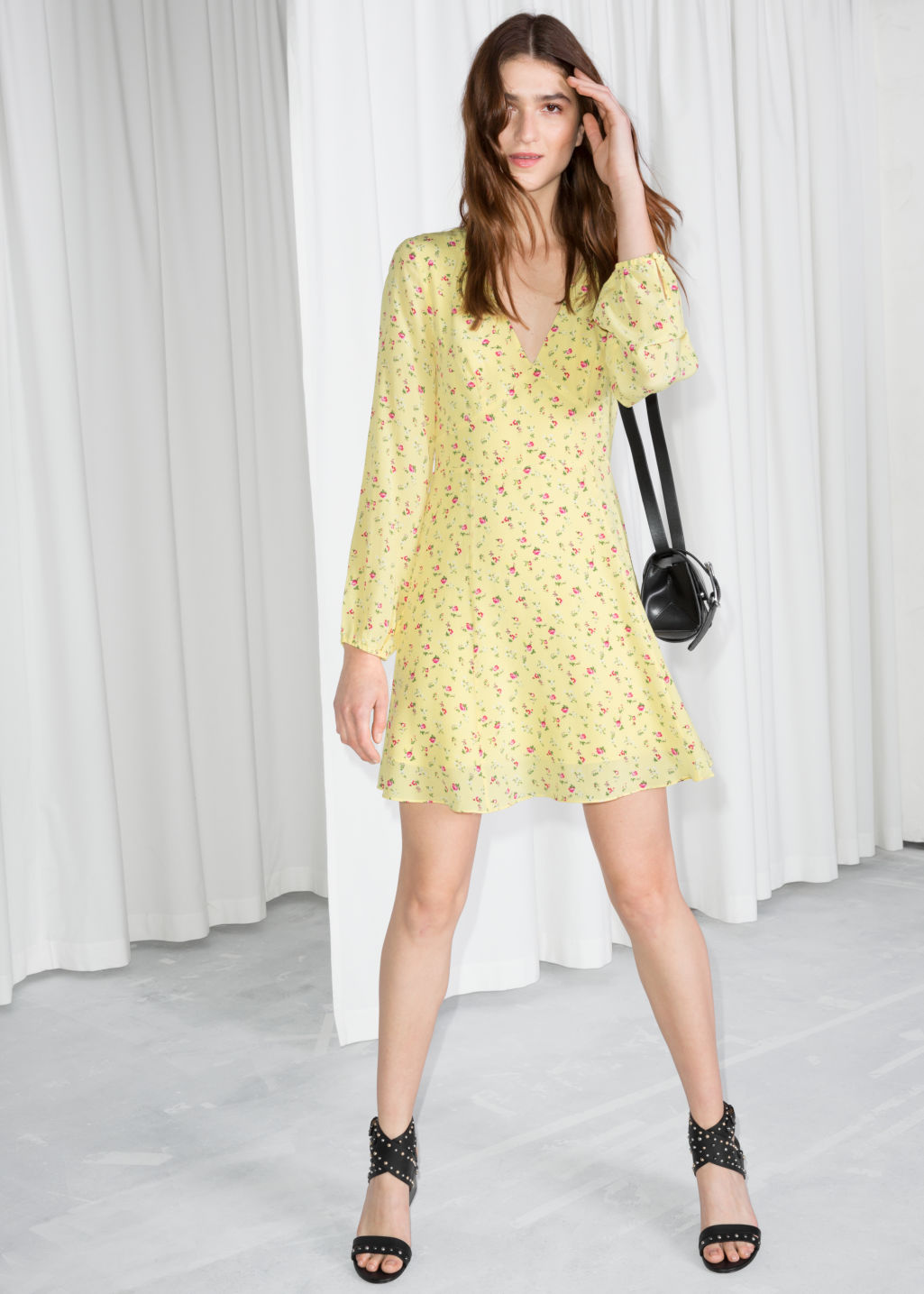 Model front image of Stories floral print silk dress in yellow