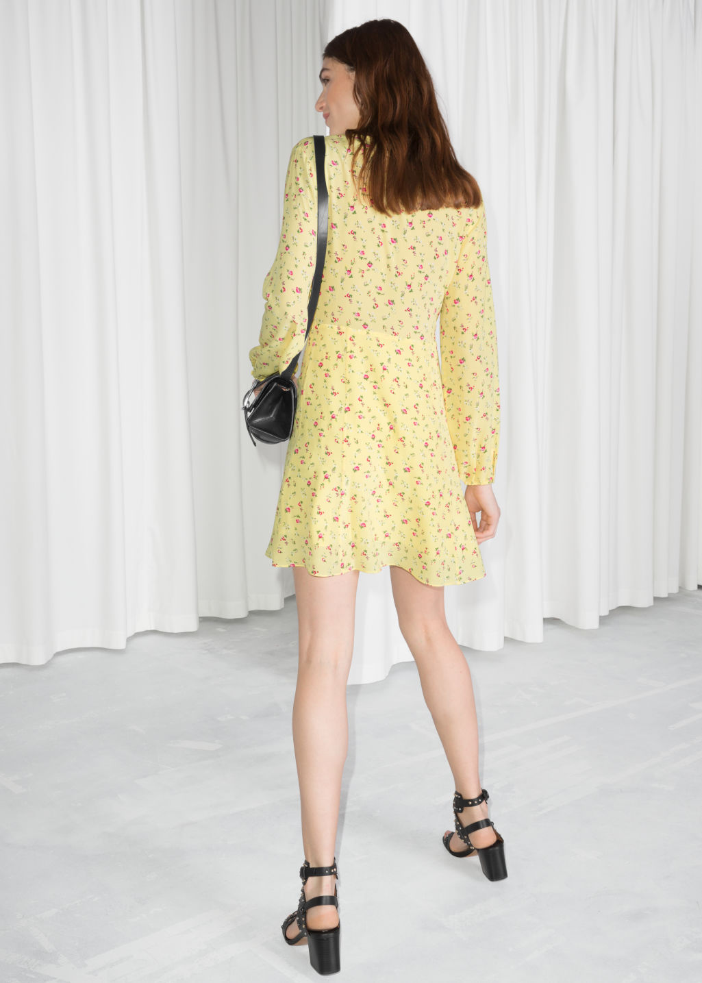 Model back image of Stories floral print silk dress in yellow