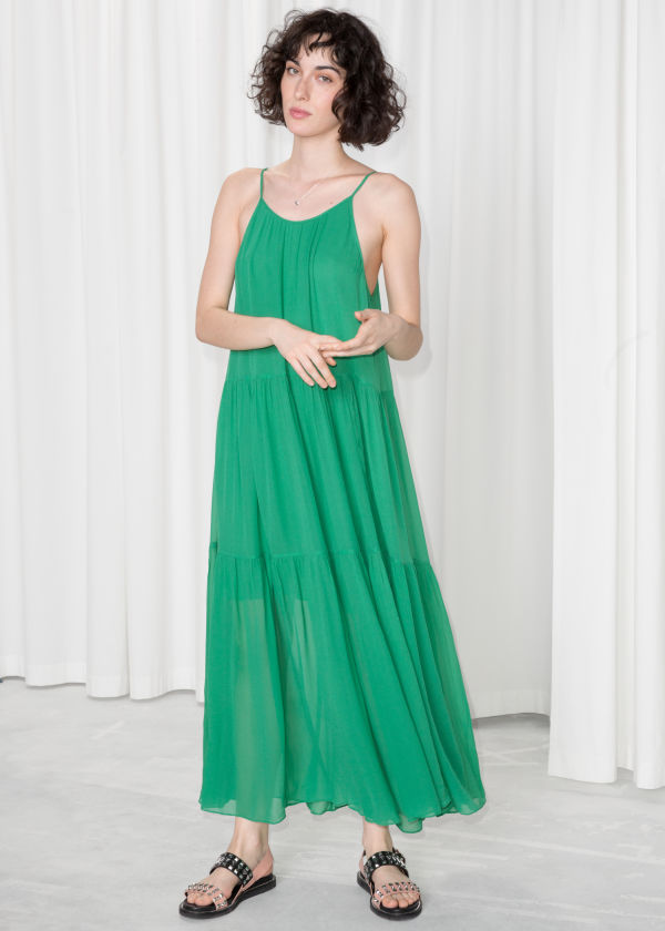 A-Line Pleated Maxi Dress