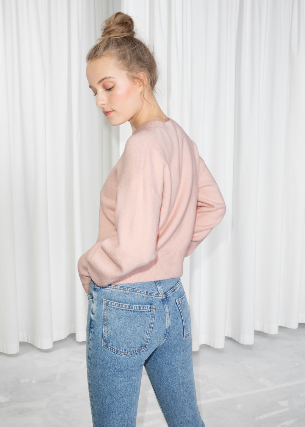 Model back image of Stories crewneck sweater in pink