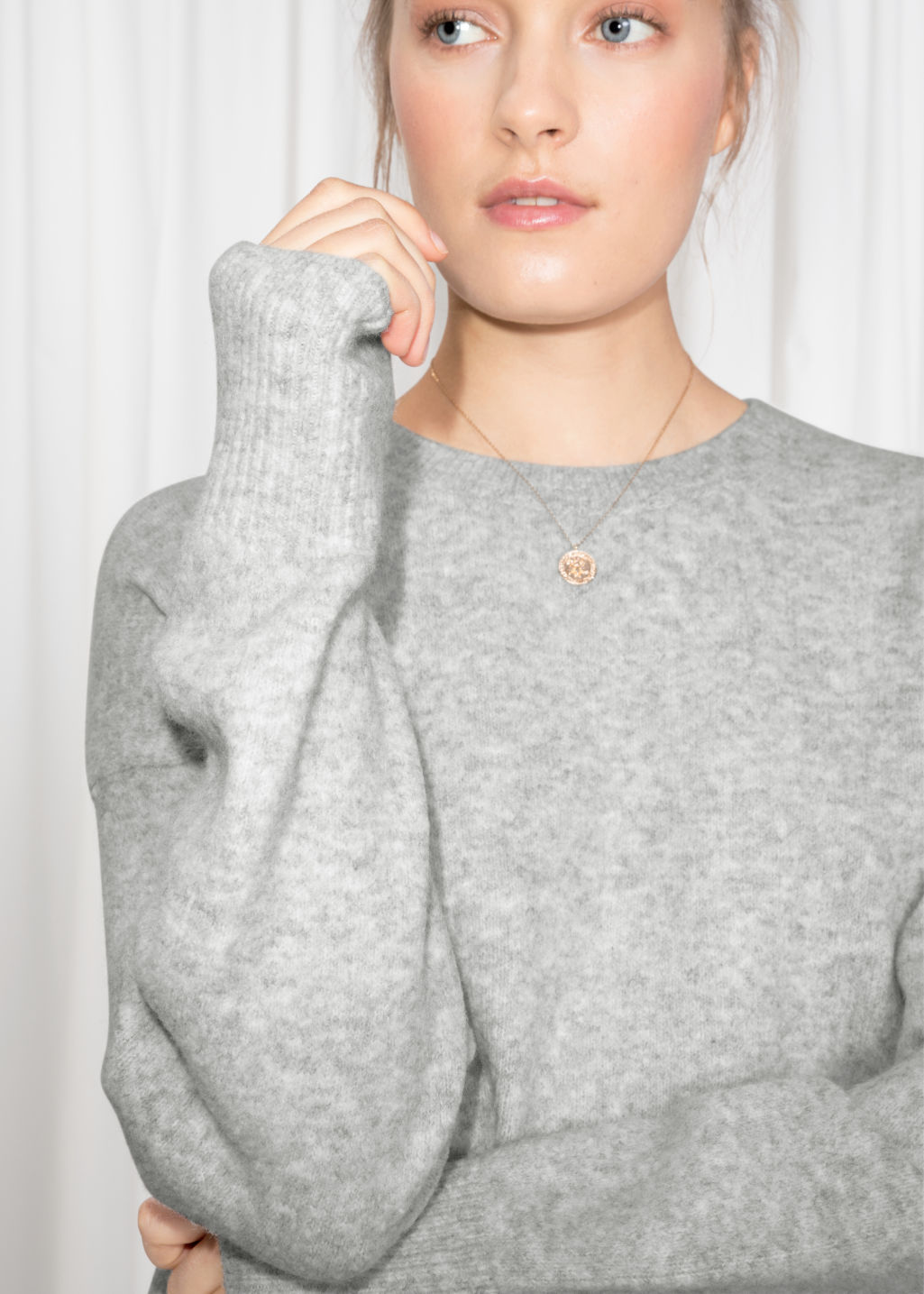 Model back image of Stories crewneck sweater in grey