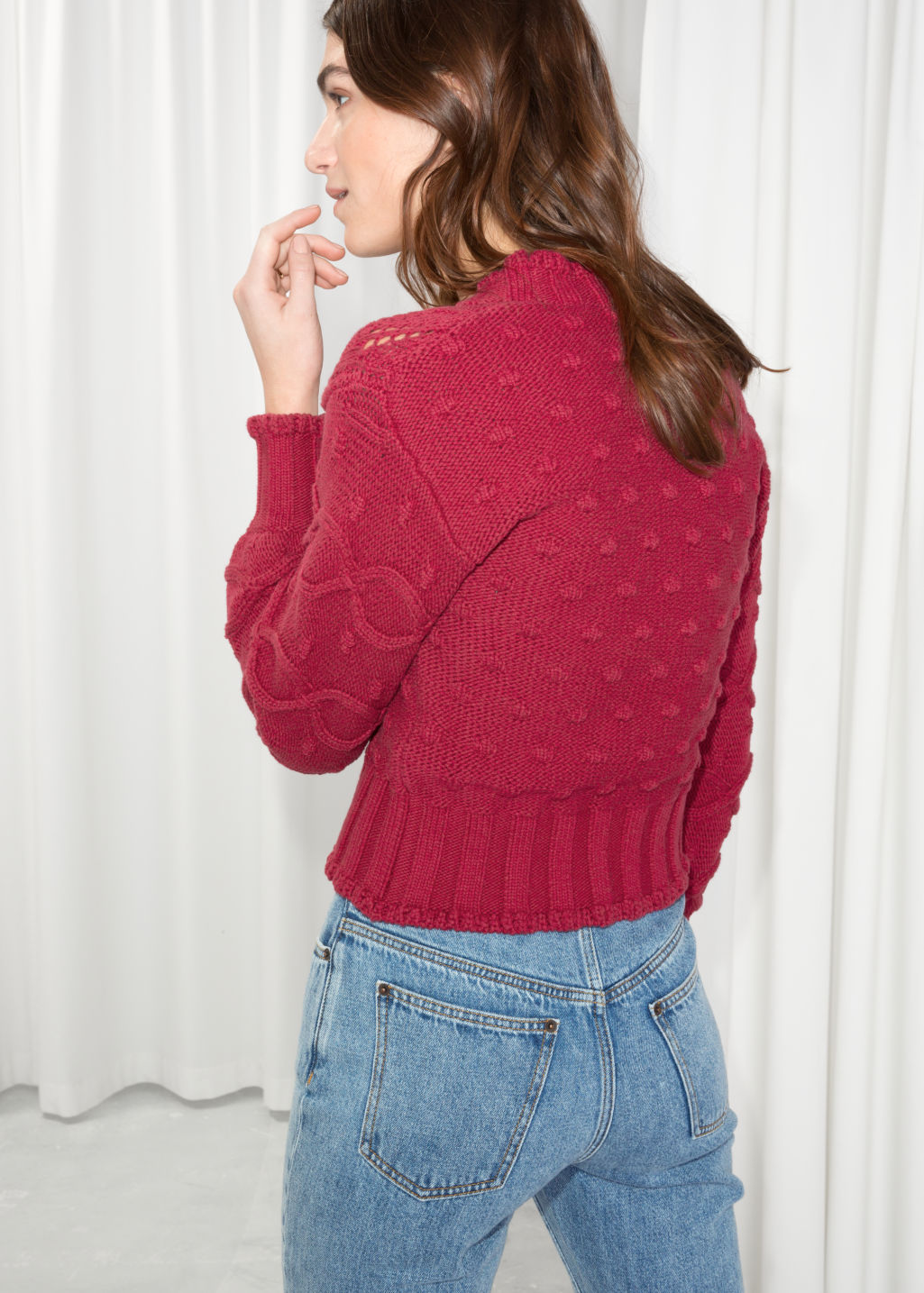 Model back image of Stories chunky knit cardigan in red