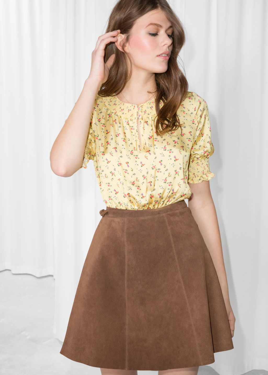 Model front image of Stories floral print ruched blouse  in yellow