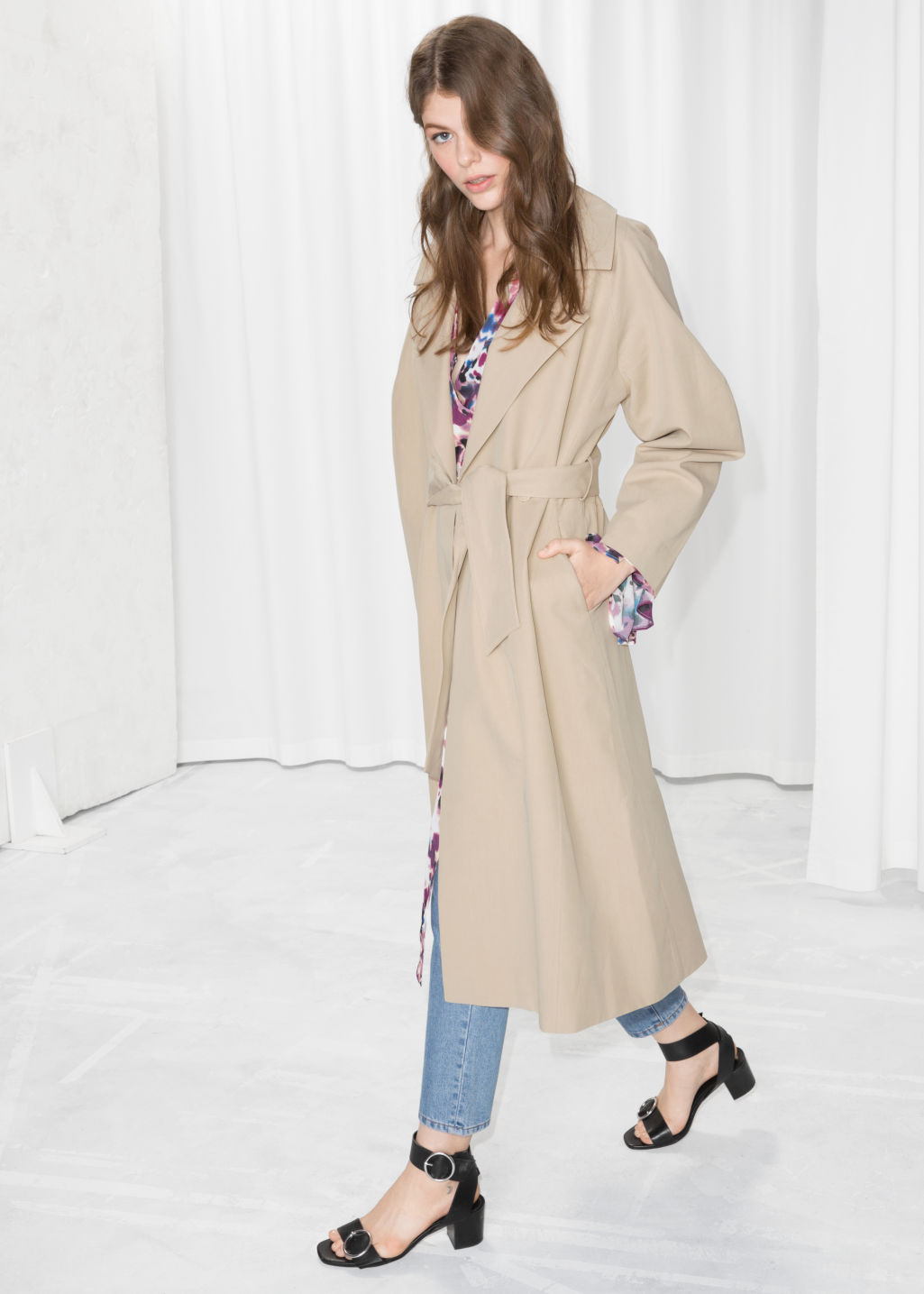 Model front image of Stories waist tie trench coat  in beige