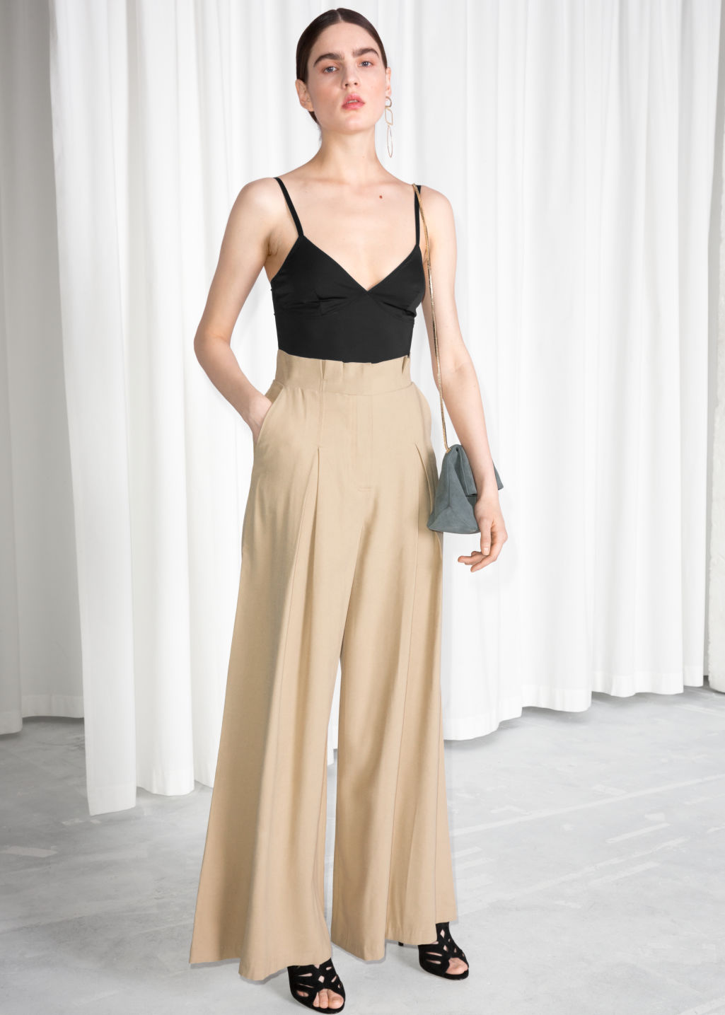 Model front image of Stories paperwaist wide trousers in beige