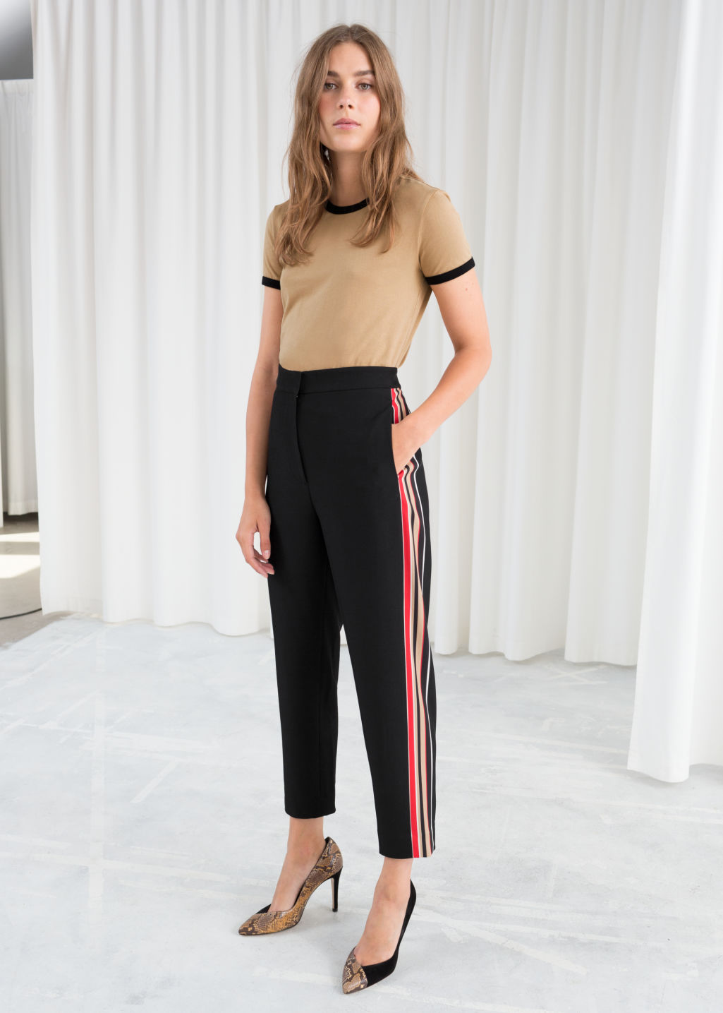 Model front image of Stories tapered racer stripe trousers in black
