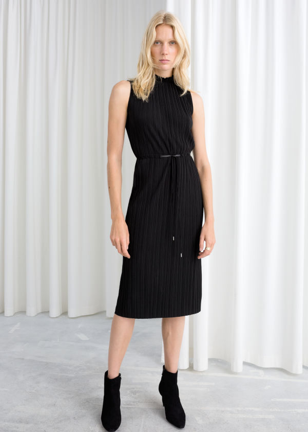 Plissé Pleated Midi Dress