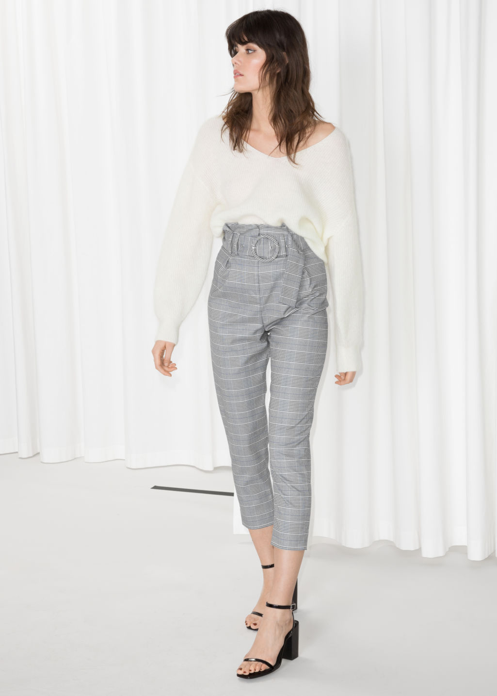 Model front image of Stories high waisted belted trousers in grey