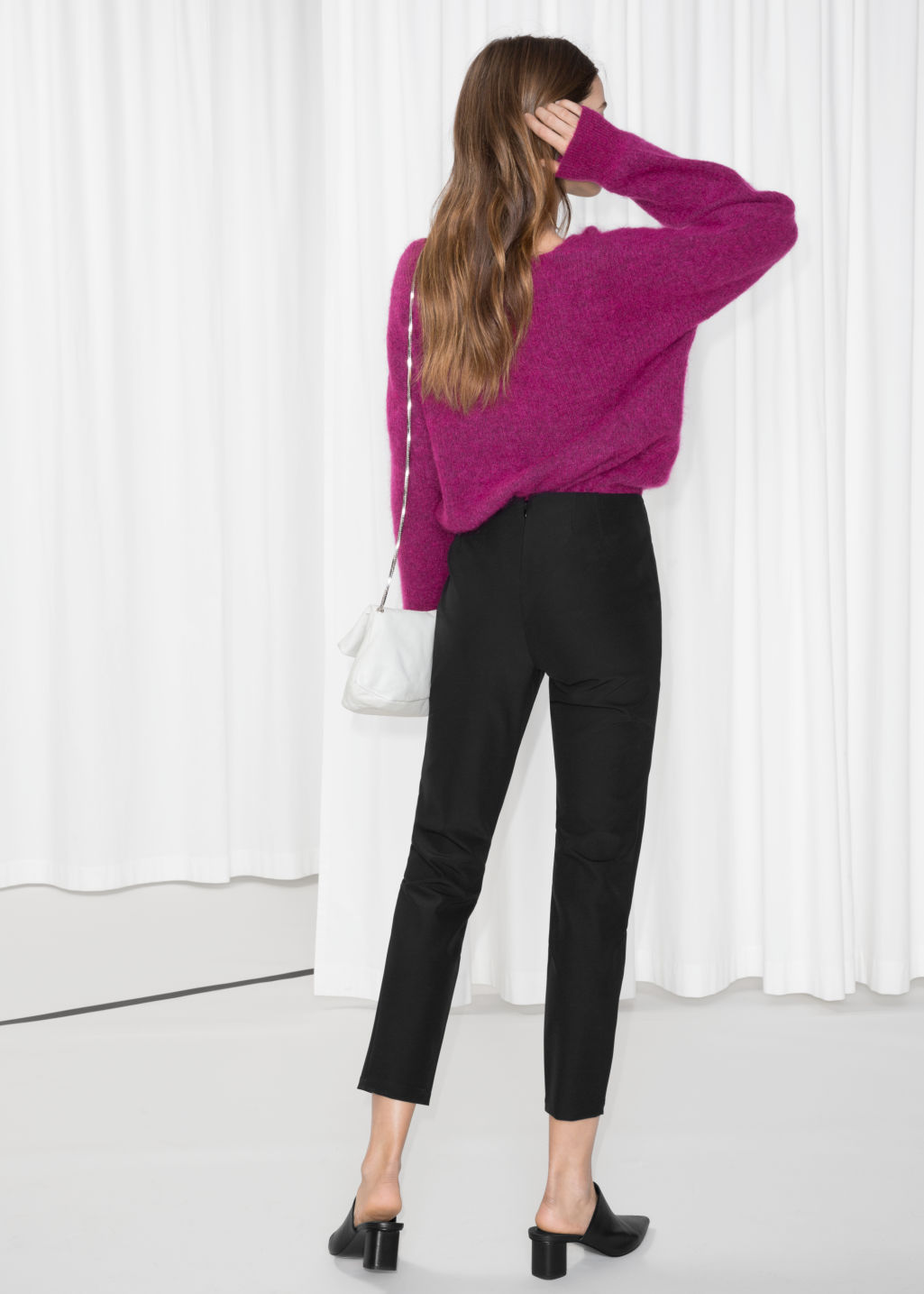 Model back image of Stories slim fit legging trousers in black