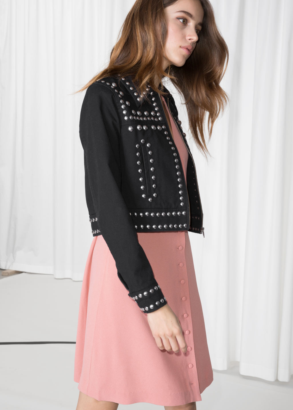 Model front image of Stories dome studded jacket  in black