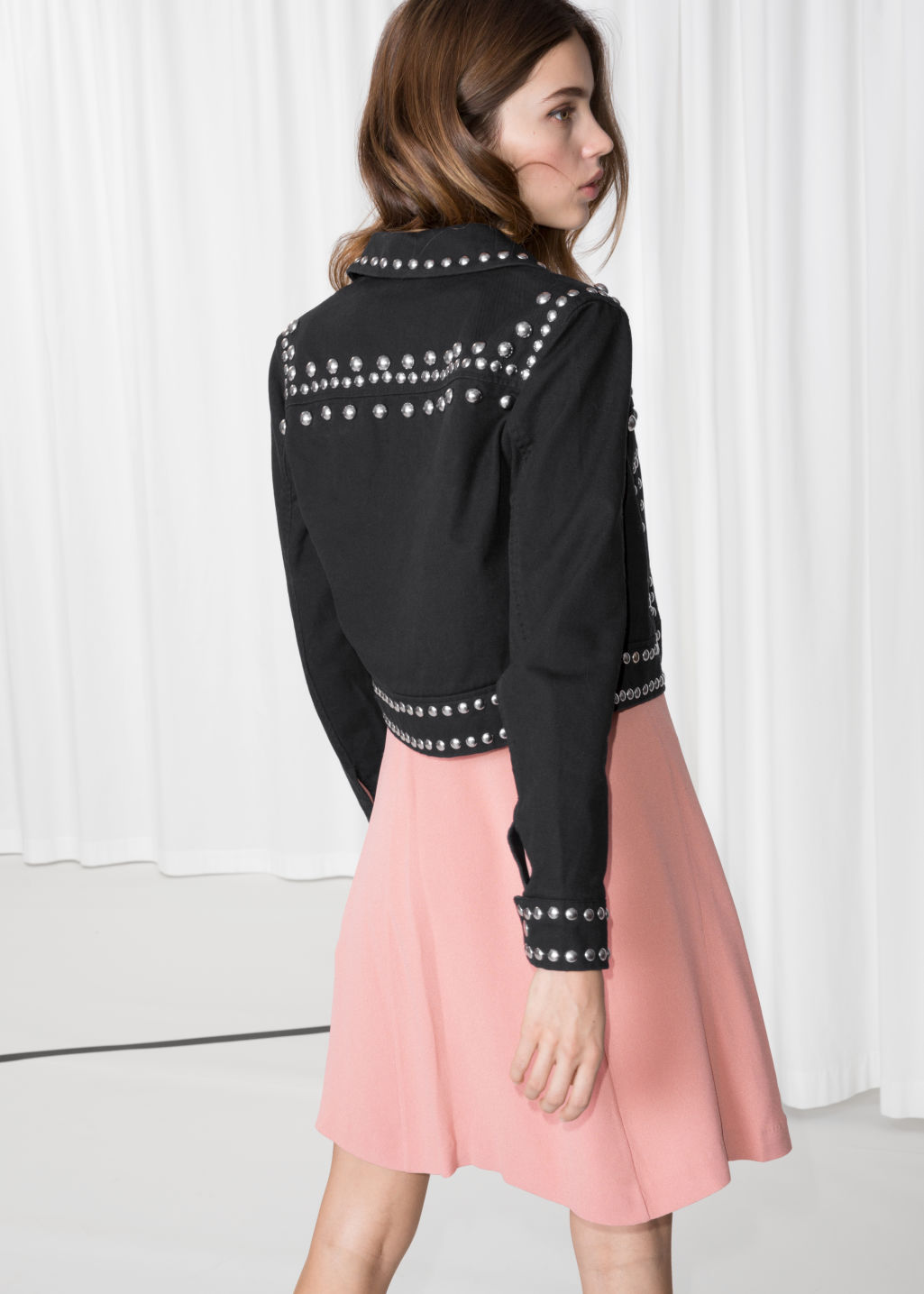 Model back image of Stories dome studded jacket  in black