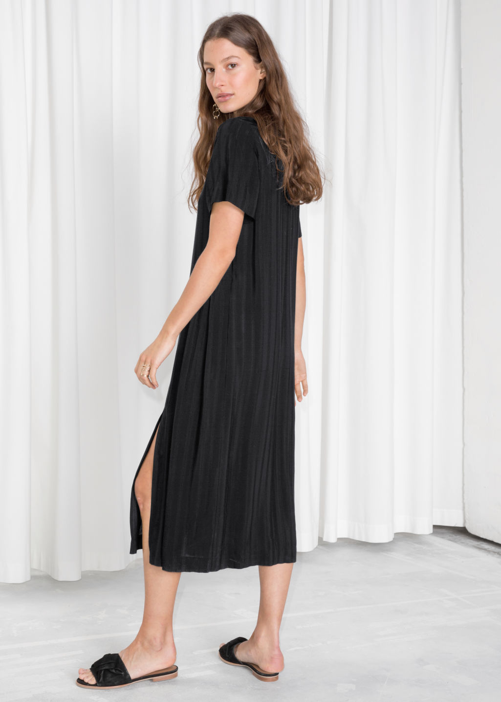 Midi Pleated Shirt Dress Black Maxi Dresses Other Stories