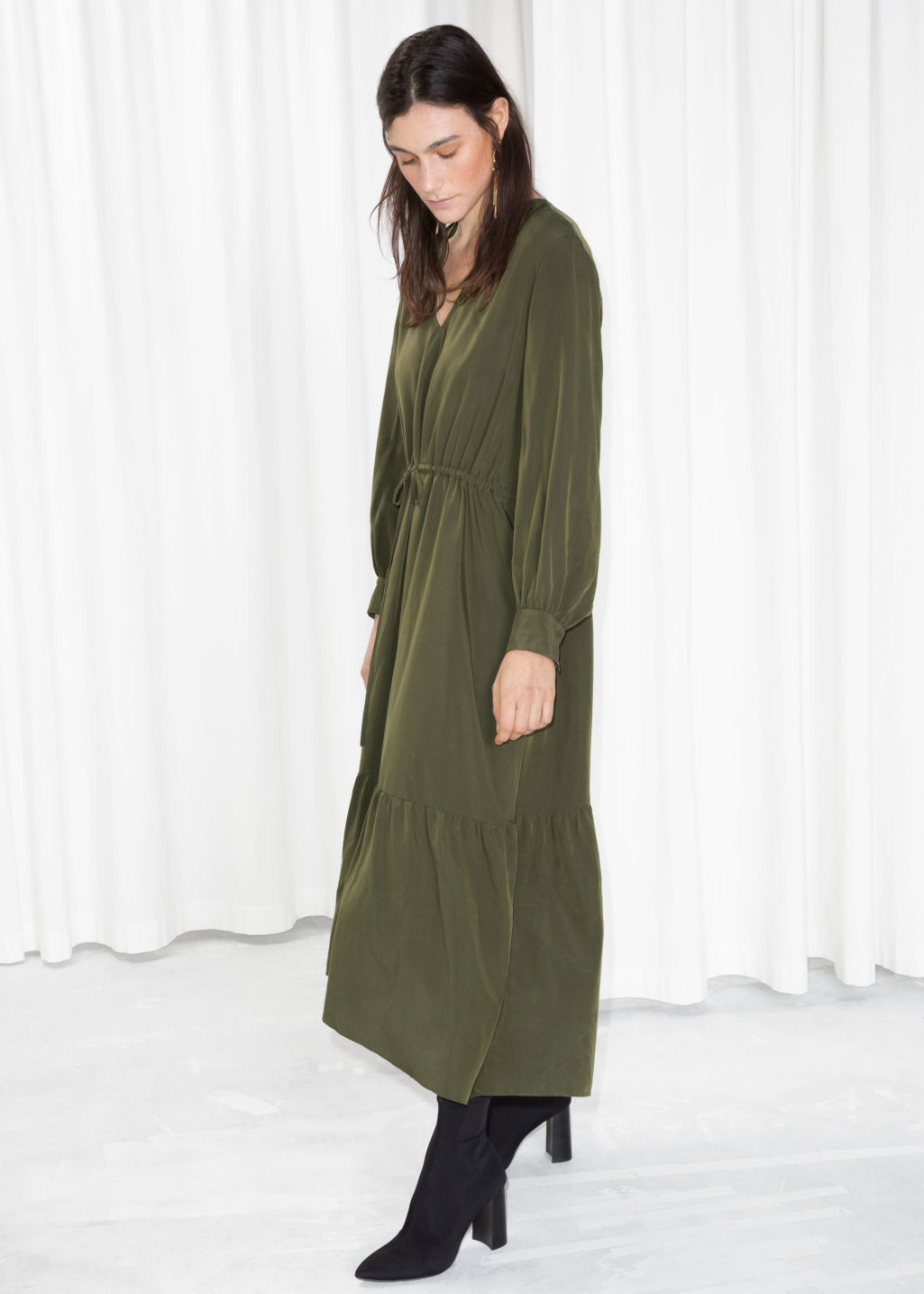 Model front image of Stories drawstring utilitarian maxi in green