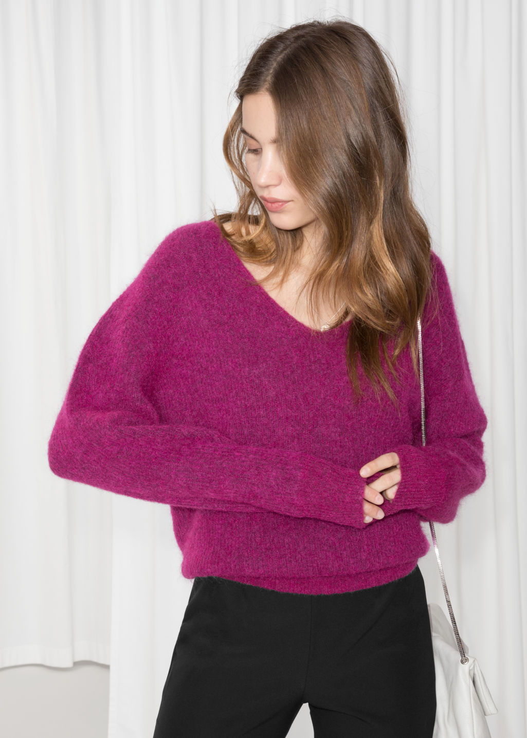 8ac124de4 Relaxed V-Neck Sweater - Plum - Sweaters -   Other Stories