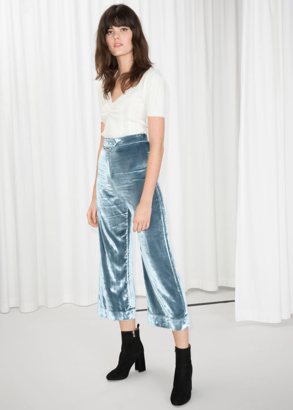 High Waisted Velvet Culottes