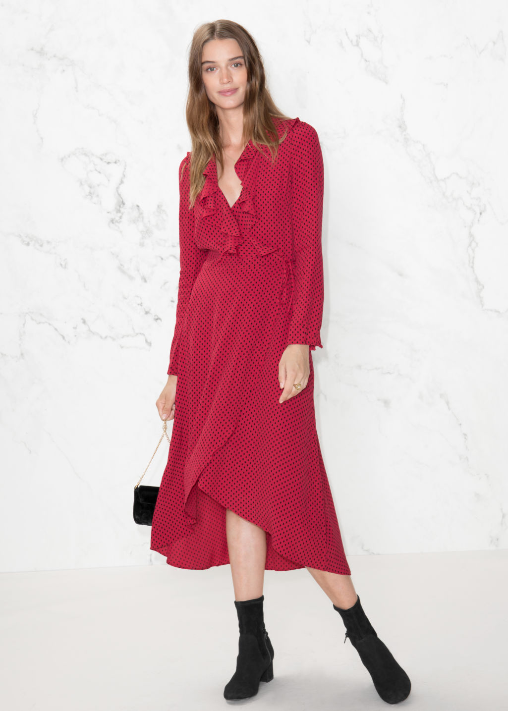 Model front image of Stories ruffle tie wrap dress in red