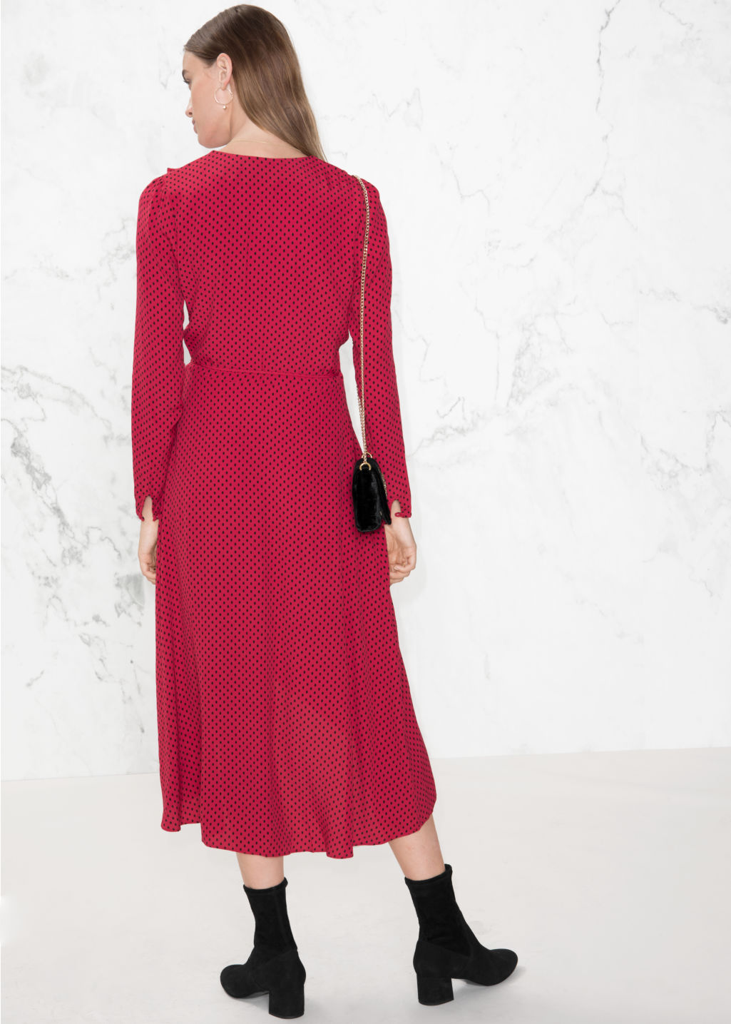 Model back image of Stories ruffle tie wrap dress in red