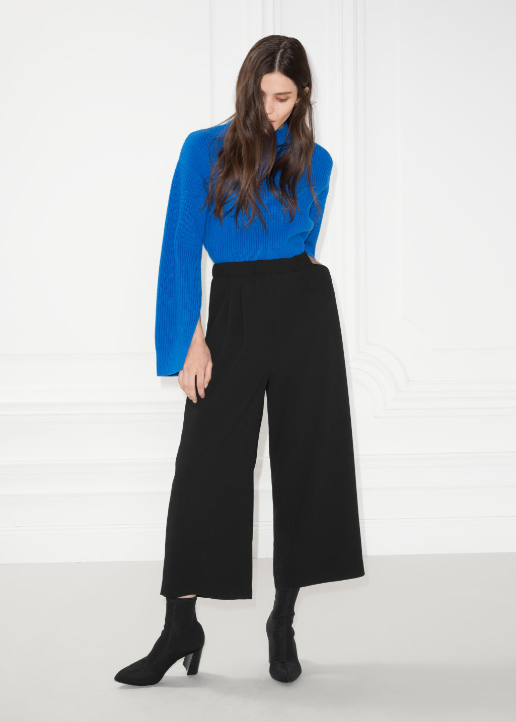 Model front image of Stories mid rise culottes in black