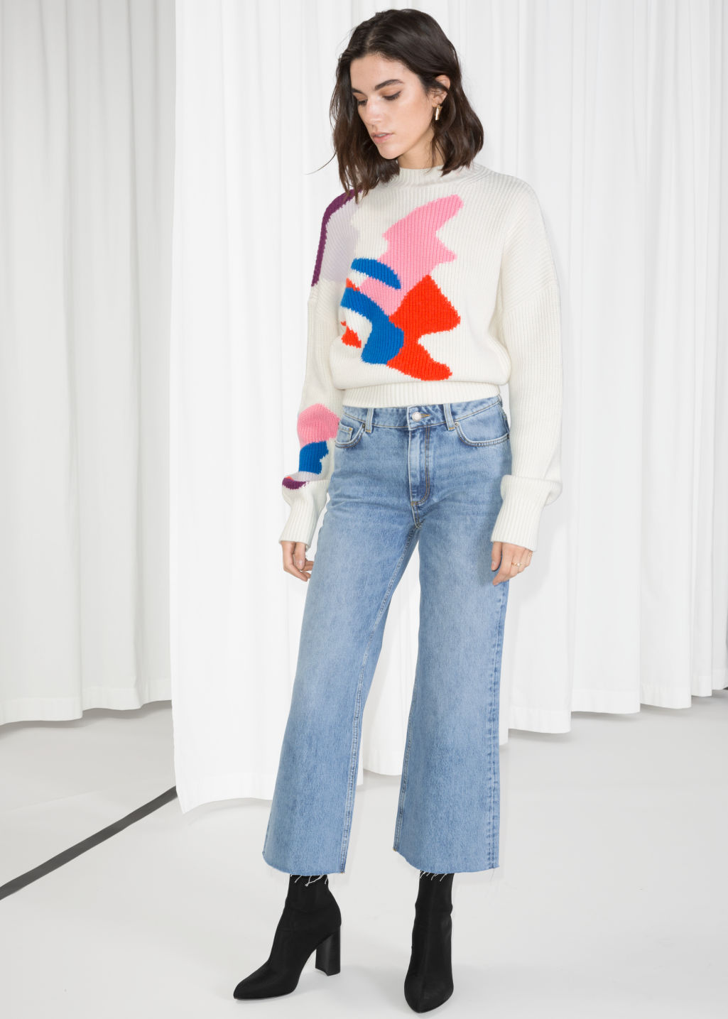 Model front image of Stories cropped flare jeans in blue