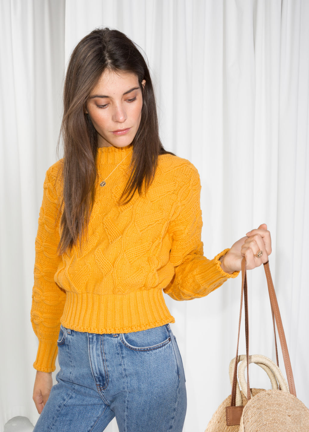 Model front image of Stories chunky knit sweater in yellow