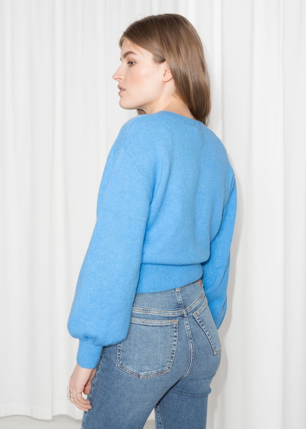 Model back image of Stories cropped sweater in blue