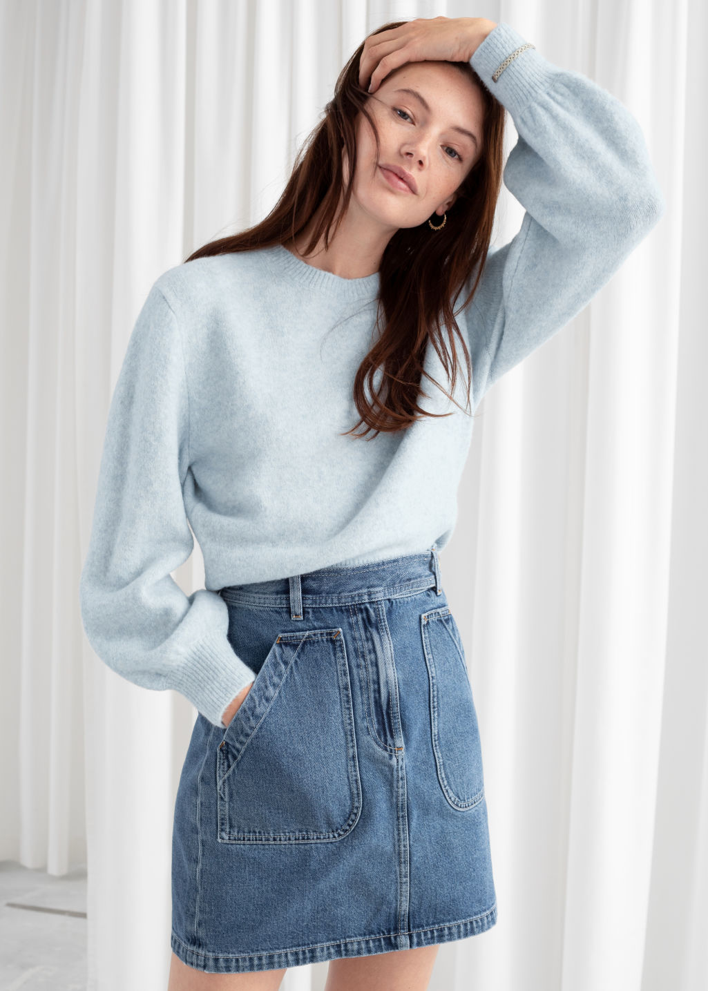 Model front image of Stories cropped sweater in grey