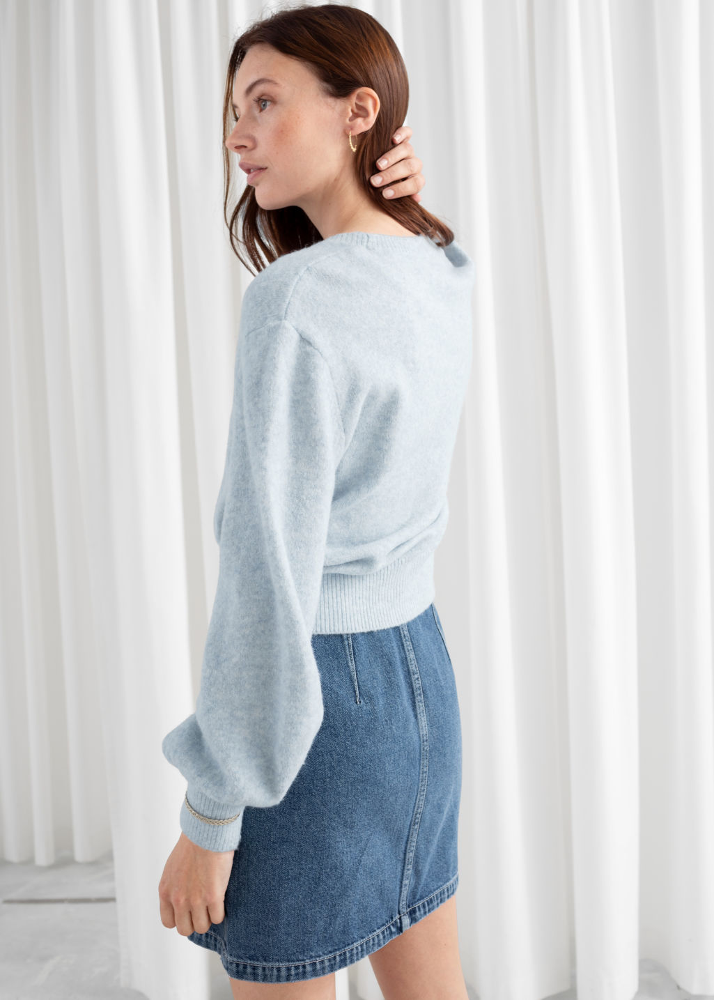Model back image of Stories cropped sweater in grey