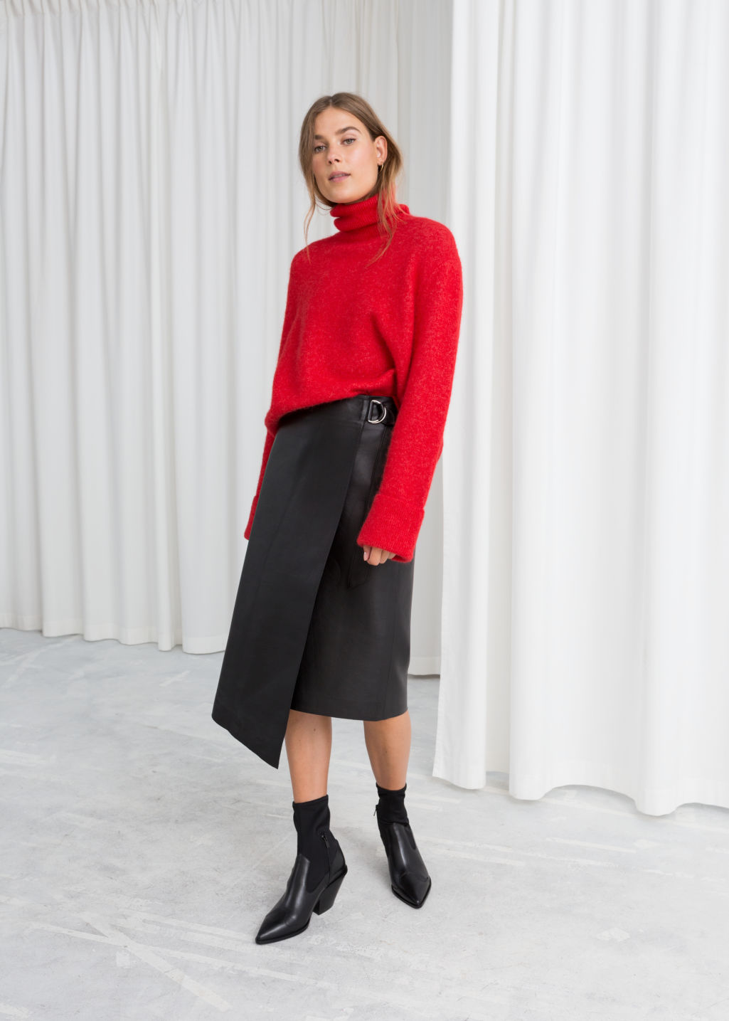Model front image of Stories asymmetric belted leather skirt  in black