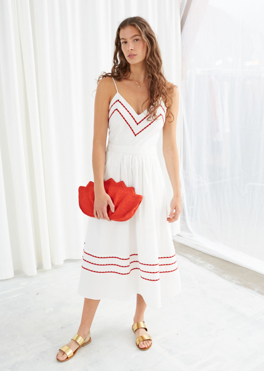Model front image of Stories chevron a-line cotton dress in white
