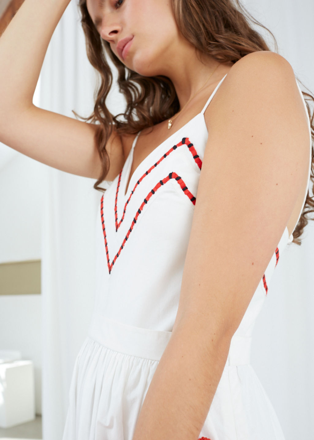 Model back image of Stories chevron a-line cotton dress in white