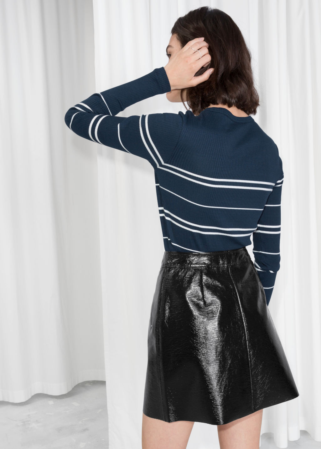 Model back image of Stories striped long sleeve shirt in blue