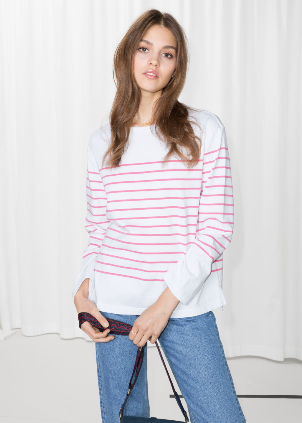Model front image of Stories striped shirt in white