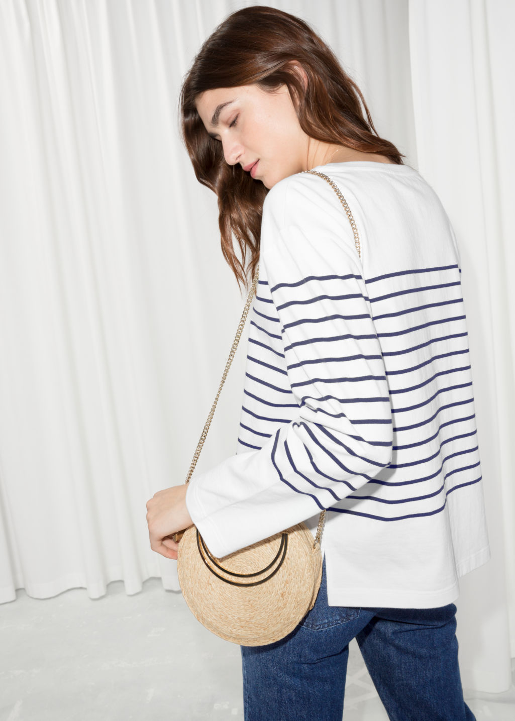 Model back image of Stories striped shirt in white