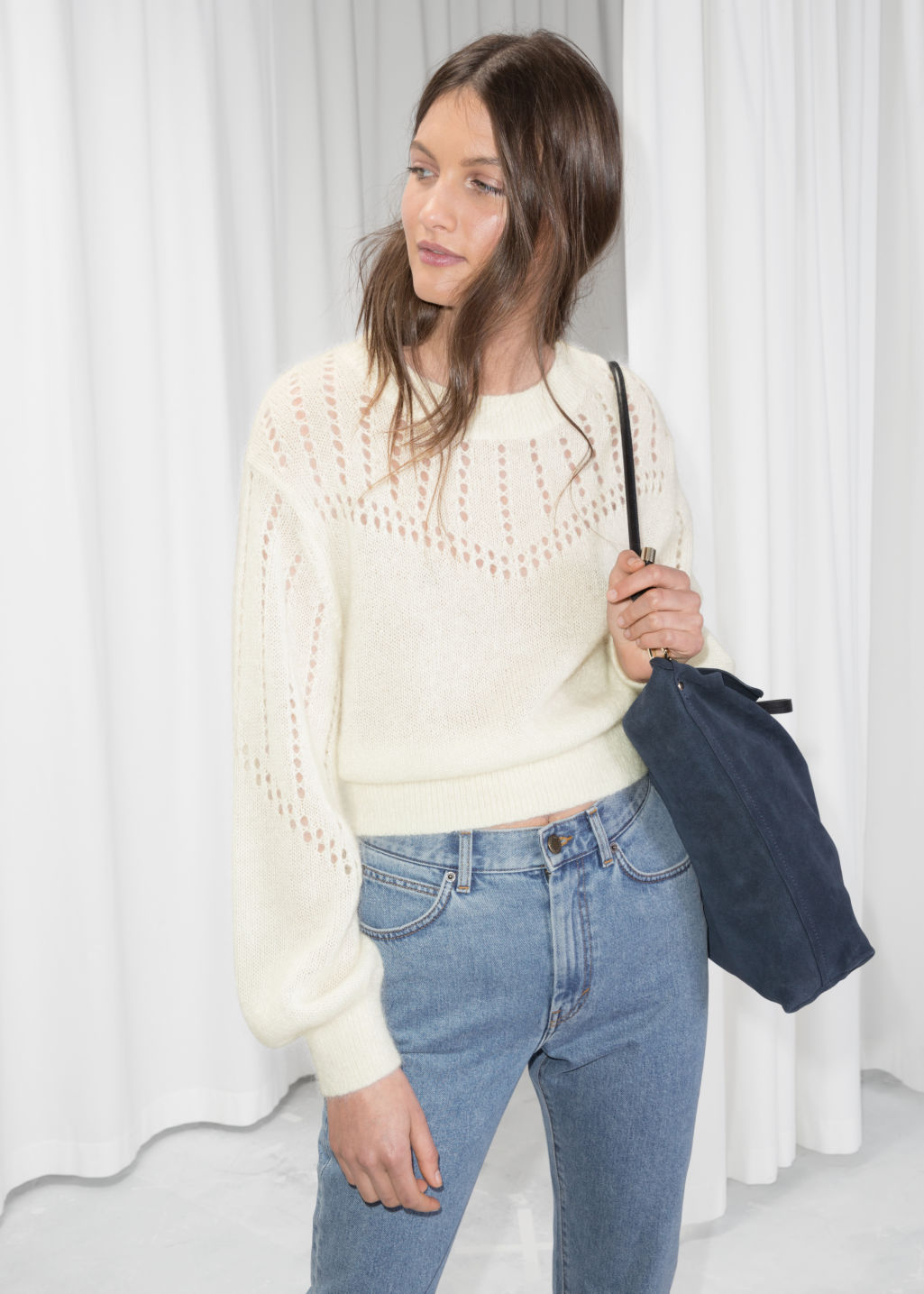 Model front image of Stories eyelet knit sweater in white