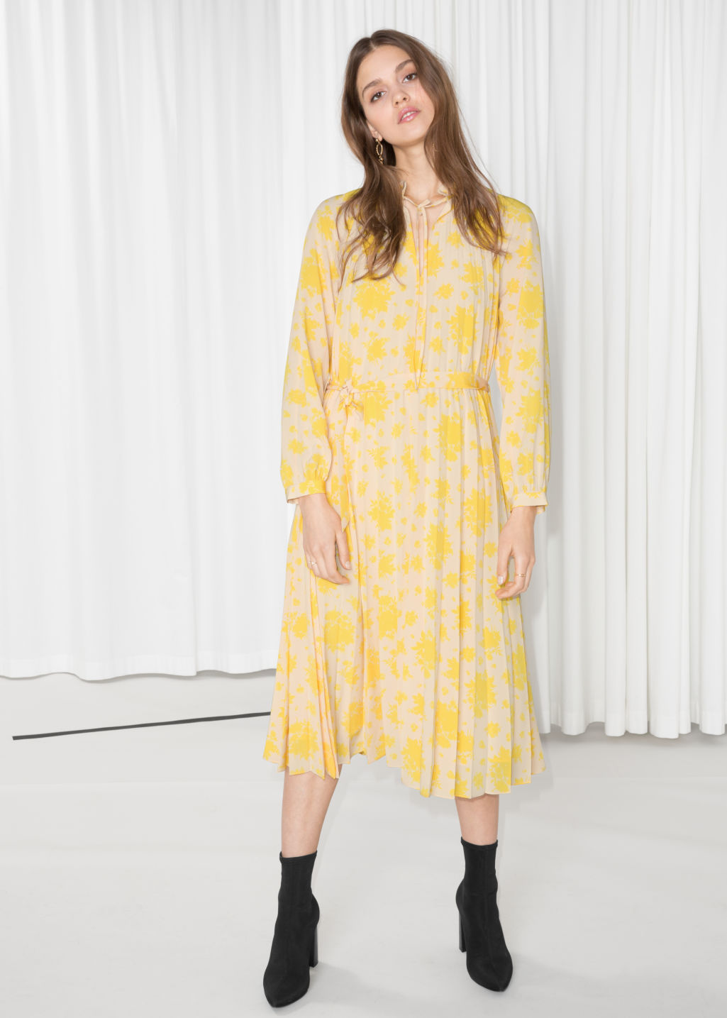 Model front image of Stories floral pleated midi dress in yellow ... 12057975d