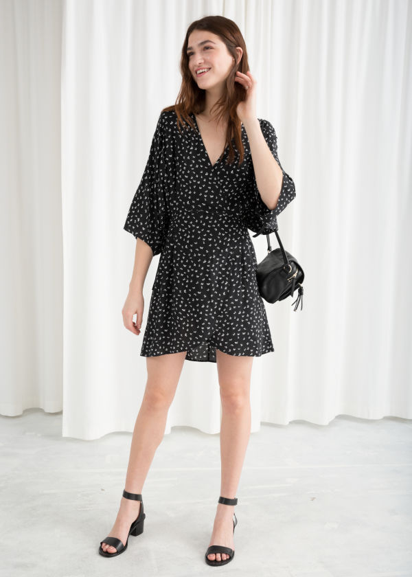 Billowy Wrap Mini Dress