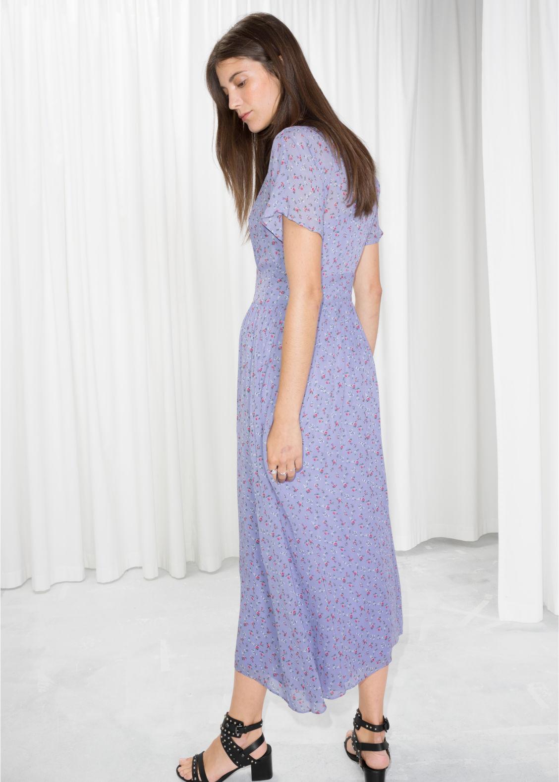 b29a17784983 Floral Print Midi Dress - Light Blue - Midi dresses -   Other Stories