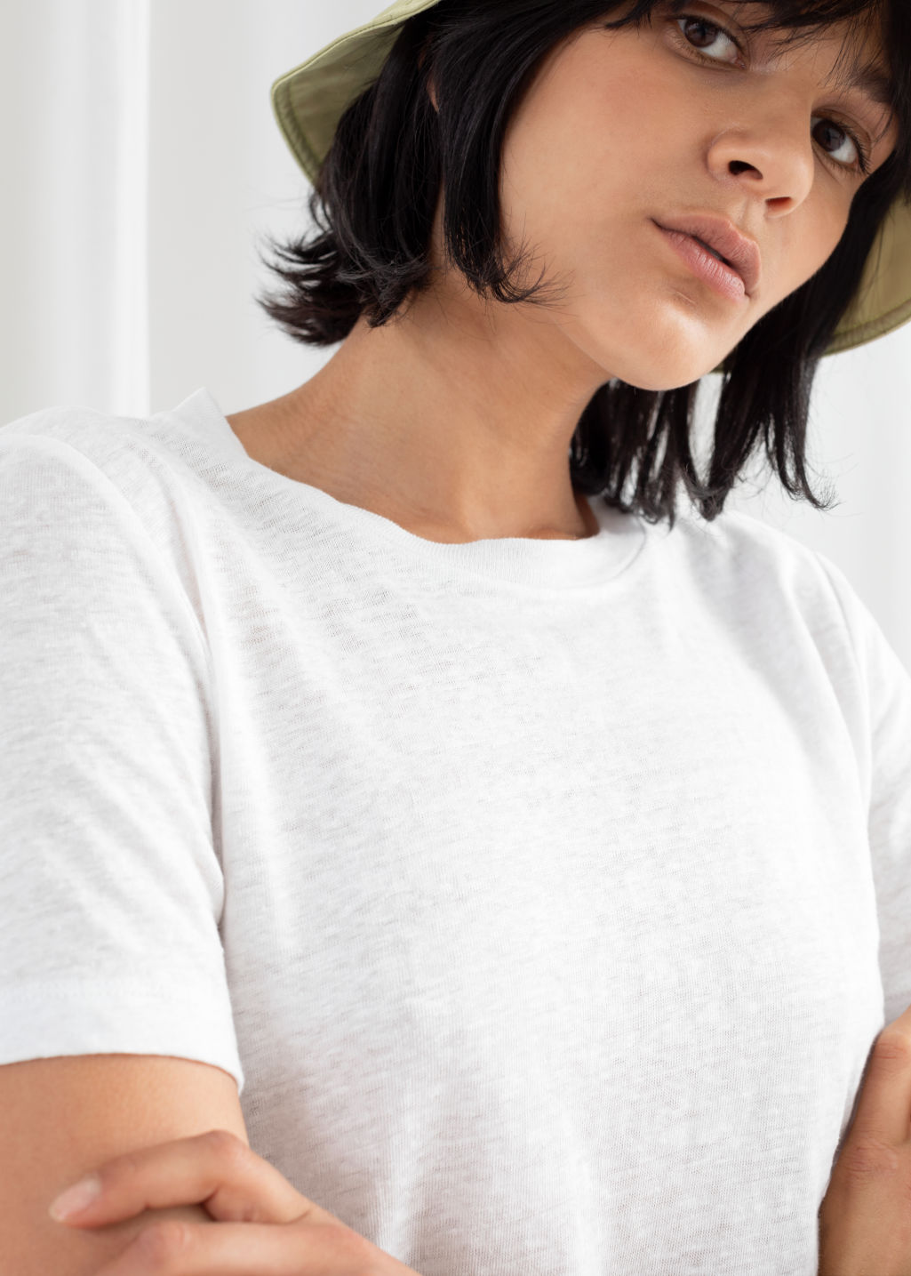 Model back image of Stories classic crewneck tee  in white