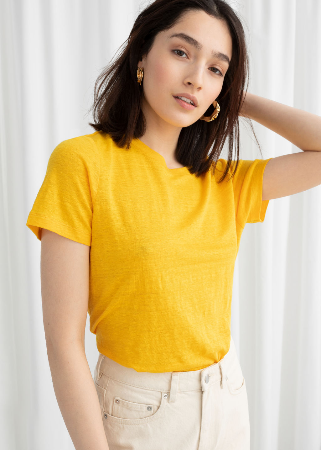 Model front image of Stories classic crewneck tee  in yellow