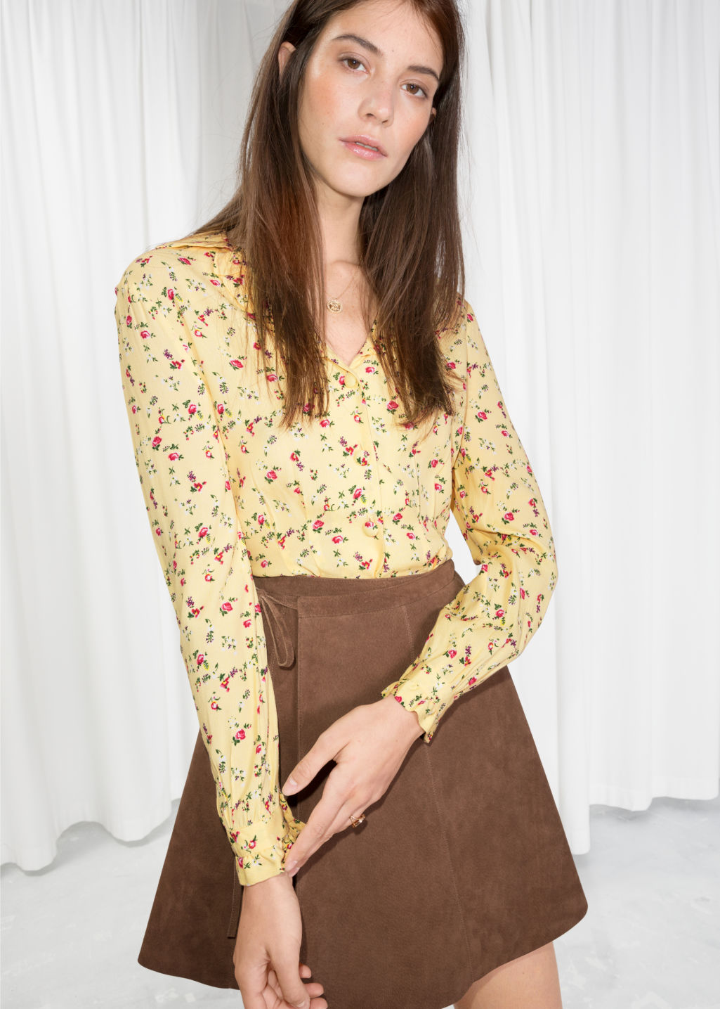 Model front image of Stories printed ruffle collar blouse  in yellow