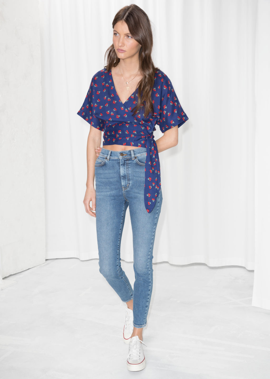 Model front image of Stories high super slim jeans in blue