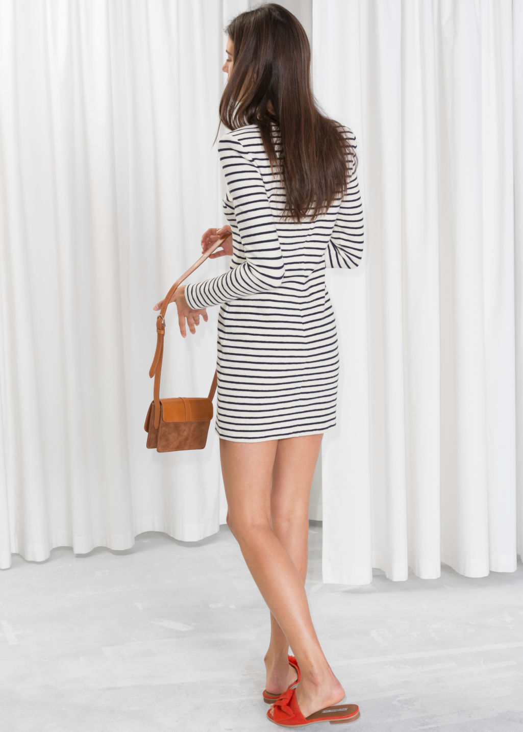 Model back image of Stories striped mini dress in white