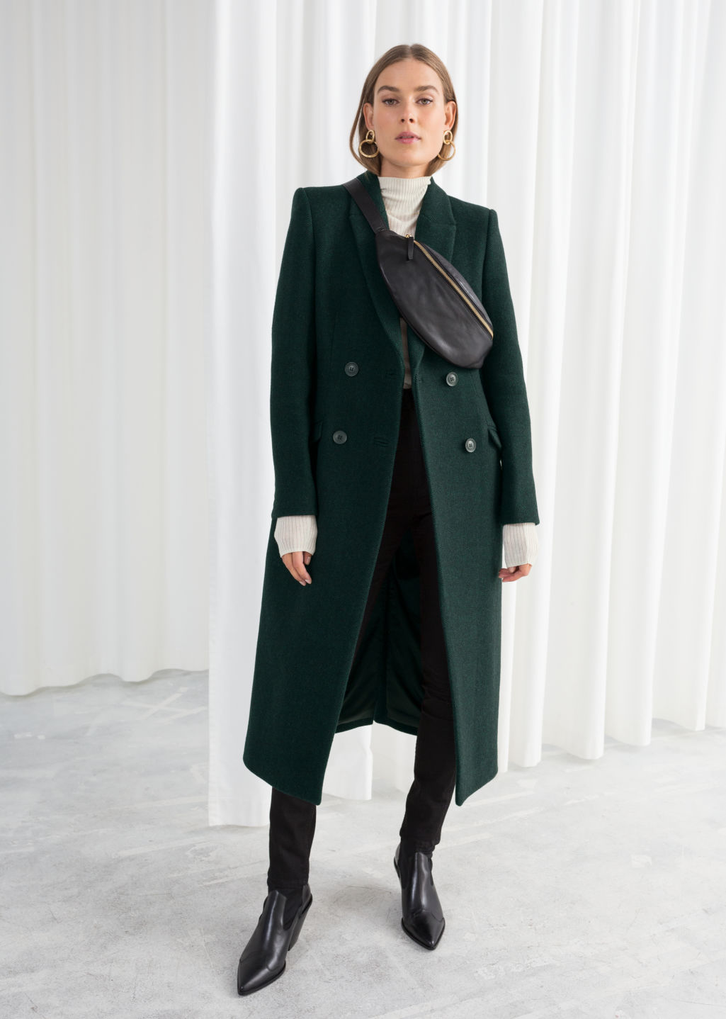 Model front image of Stories hourglass double breasted coat in green
